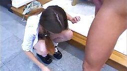 Schoolgirl bodysuit feet first time