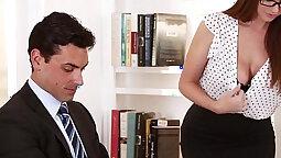 busty secretary Stephanie rides hefty dick