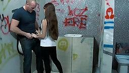 Big tit brunette teen bathroom sex with creampie