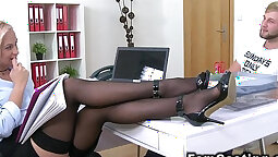 Blonde in leather stocking pounded by pawnkeeper