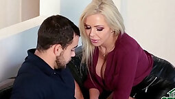Brunette Mom And Step Son Teasing Each Other