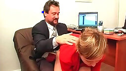 Black hair secretary and office employee nail each other