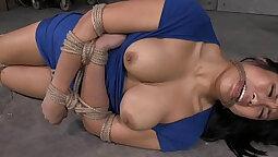 Asian maid enjoying bondage