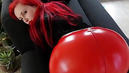 Chubby redhead Louisa plays with big ass