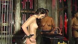 Brunette white spanked by black dick
