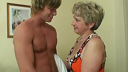 Big Booty Granny Deepthroats Big Hard Cock All Over And Fucks His Ray