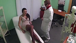 Doctor loves playing with wifes shaved pussy