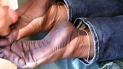 Couple footjob stockings cumshot