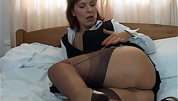 Super hot babe in stockings and pants bent over and fucked