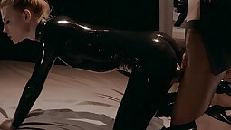 Mia footieing in fishnet and latex hat sure make