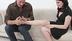 Brace face girl Jessica Weston in hardcore foot fetish sex scene