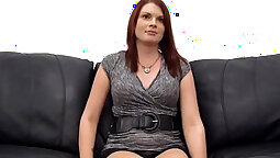 Big boobs redhead whore Camille rides on a guy