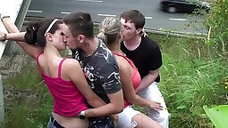 huge big boobs gangbang milks cum in public