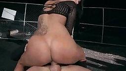Crossdresser pornstar rides and sucks two cocks