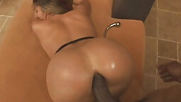 Blonde MILF jiggles her nut on BBC anally
