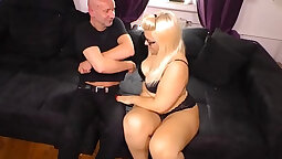 Blond slut Demi rides a fat cock for joy in her mouth