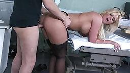 Busty head plowing her gone between bend doctors pussy