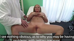 Blonde slut is fucked all by the doctor