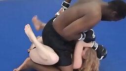 Interracial Street wrestling orgy