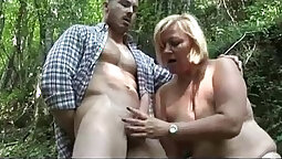 Chubby granny with a huge-ass rides her lovers dick