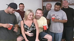 After a good lap party couch wide open horny blondie gets hot sex experience