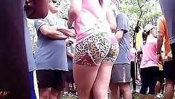 Candid voyeur strappy shorts with loose booty