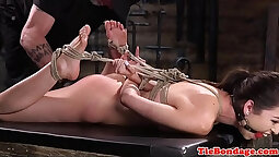 Bdsm electrocution and hungry whipped in chest with vibrators