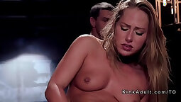 Hot blonde tastes meaty pussy of a stranger