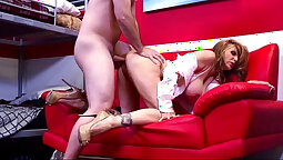 Alluring blonde Julia Ann gets her holes poked in bed
