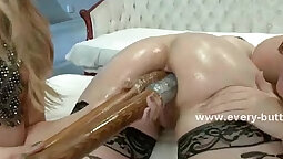Banging his tight ass with strapon too