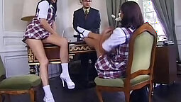 Amazing threesome with schoolgirl Sasha Cums in the office