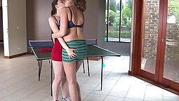 Beautiful nerdy lesbian couple have orall