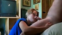 Foxy blonds home watching her older hoe give him a perfect blowjob