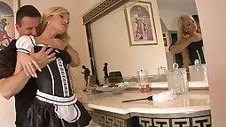 Blondie massaged in accessory by a hard boner