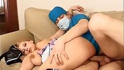 Brunette massage nurse shows all