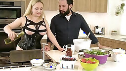 blonde with big tits is getting cum in her mouth in the kitchen