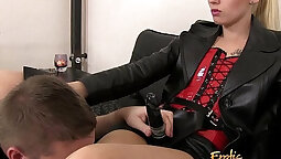mistresses encourage slave with strapon